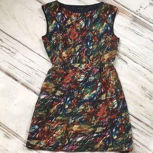 Theory 100% silk sleeveless brushstroke dress 8